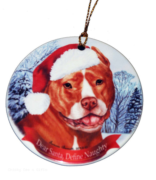 Pet Gifts USA Pit Bull Orange and White Christmas Ornament - Chicky Dee's Gifts