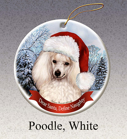 Pet Gifts USA Poodle, White Christmas Ornament Santa Hat - Chicky Dee's Gifts