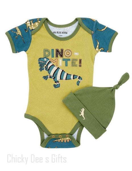 Hatley Infant One Piece Blue Dino baby onesie - Chicky Dee's Gifts - 1