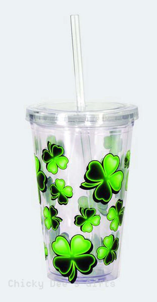 SPOONTIQUES Shamrocks 16 oz Acrylic Cup w Top & Straw Irish St. Patrick's Day - Chicky Dee's Gifts