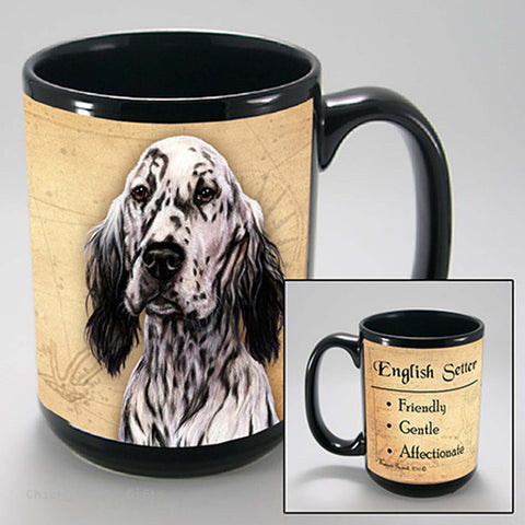 Pet Gifts USA English Setter My Faithful Friend 15 oz Mug Black & White - Chicky Dee's Gifts