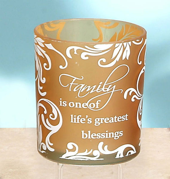 Tealight Frosted Glass Candle Holder Family Blessings Mother's Day gift - Chicky Dee's Gifts