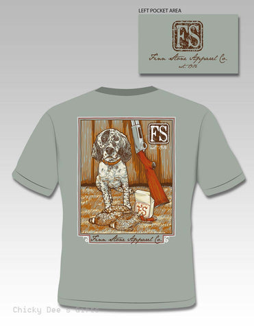 Finn Stone Apparel Mellie's Prize English Setter Short Sleeve Pocket T-Shirt - Chicky Dee's Gifts
