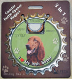 Irish Setter Bottle Ninja Magnet Coaster Opener dog - Chicky Dee's Gifts - 1