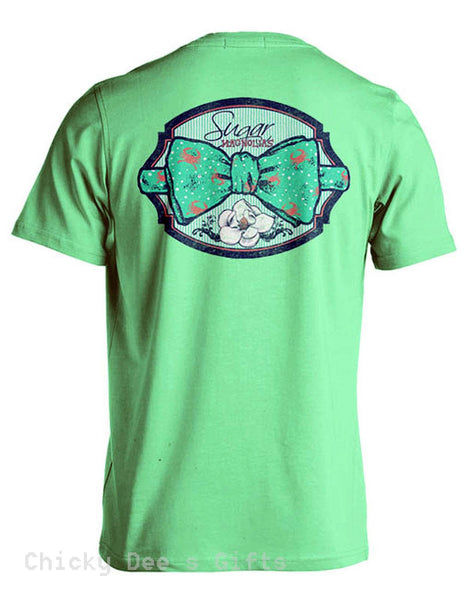 Sugar Magnolias Crab Bowtie  Unisex Tee Shirt Southern T-Shirt - Chicky Dee's Gifts - 1