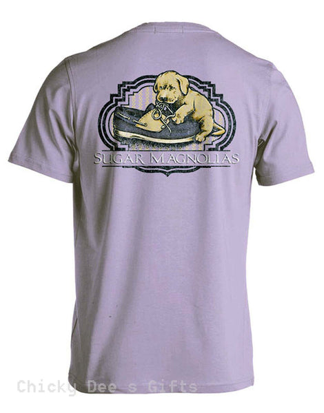 Sugar Magnolias Shoelaces  Unisex Tee Shirt Southern Shoe Laces Puppy T-Shirt - Chicky Dee's Gifts - 1
