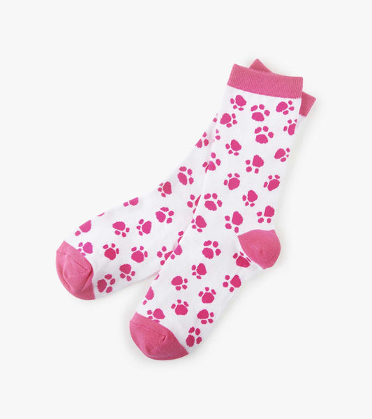 Little Blue House by Hatley Women s Crew Socks PINK PAW dog cat