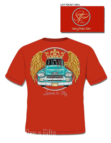 Sassy Frass Tees LICENSE TO FLY  VINTAGE TRUCK Short Sleeve T-Shirt - Chicky Dee's Gifts