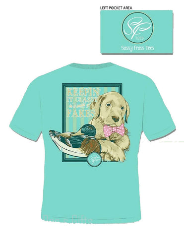 Sassy Frass Tees Keeping It Classy In A World Of Fakes Short Sleeve T-Shirt Lab Dog - Chicky Dee's Gifts