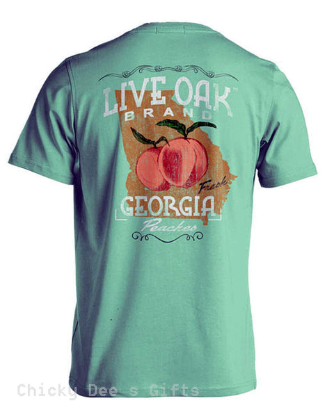 Live Oak Brand Southern Essentials Georgia Peaches Unisex Pocket Tee Shirt T-Shirt - Chicky Dee's Gifts - 1