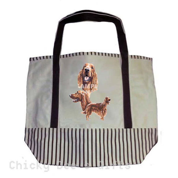 Tote Bag Irish Setter Dog Heavy Duty Canvas Shopping Grocery Reusable - Chicky Dee's Gifts