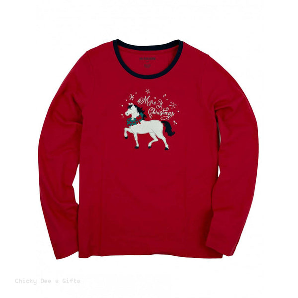 Hatley Women s Long Sleeve Jersey Tee Sledding Horse sleep top PJ tee Christmas - Chicky Dee's Gifts - 1