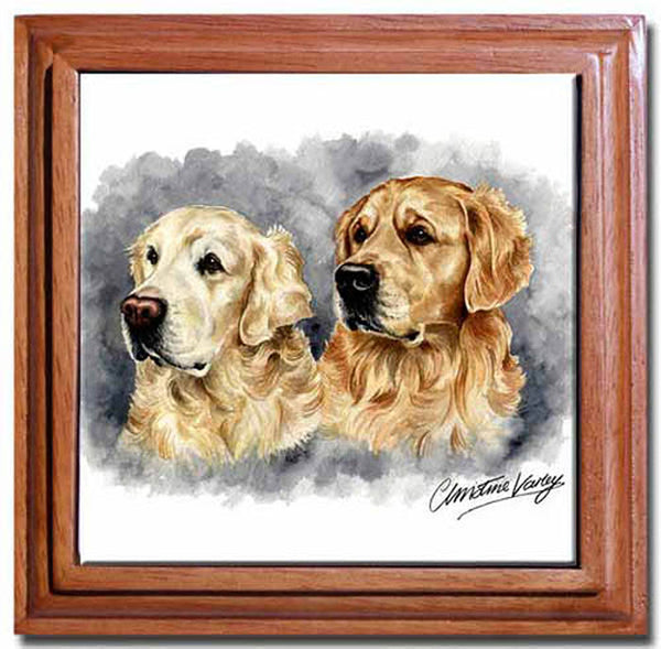 Canine Designs Golden Retriever Duo Tile Trivet