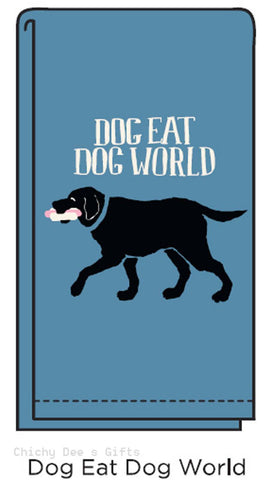 Hatley Flour Sack Tea Towel DOG EAT DOG WORLD kitchen Labrador Retriever Dog