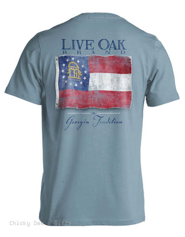 Live Oak Brand Vintage Flag State of Georgia Unisex Pocket Tee Shirt T-Shirt - Chicky Dee's Gifts - 1