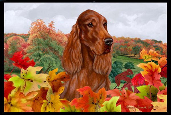 Best of Breed Floor Mat  IRISH SETTER Fall Leaves by Tamara Burnett