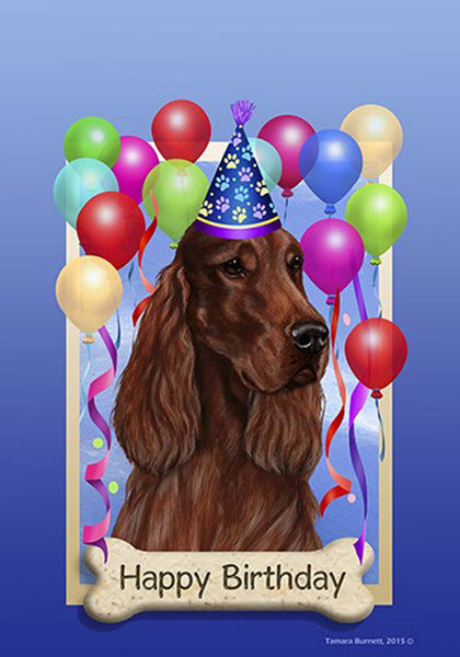 Best of Breed Garden Flag IRISH SETTER Happy Birthday by Tamara Burnett