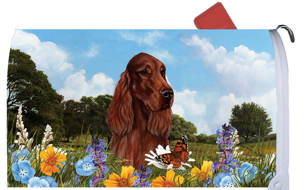 Best of Breed Mailbox Cover IRISH SETTER Summer Flowers by Tamara Burnett