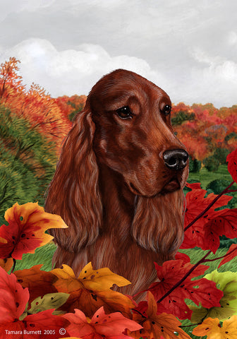 Best of Breed Garden Flag IRISH SETTER Fall Leaves by Tamara Burnett