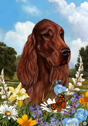 Best of Breed Garden Flag IRISH SETTER Summer Flowers by Tamara Burnett