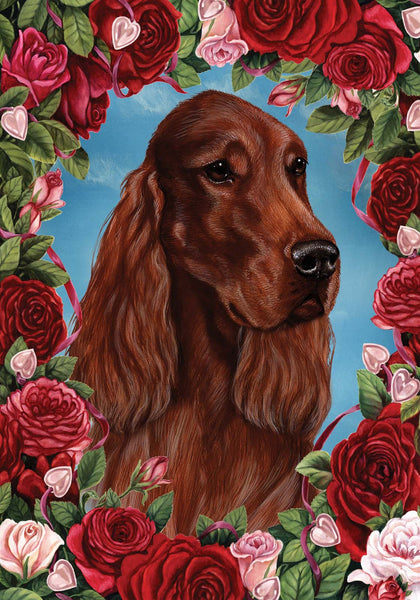 Best of Breed Garden Flag IRISH SETTER Valentine Roses by Tamara Burnett