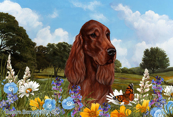 Best of Breed Floor Mat  IRISH SETTER Summer Flowers by Tamara Burnett