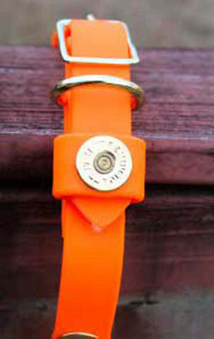 SouthLife Waterproof Dog Collar Hunter Orange w Gold Traditional Shotgun Shells - Chicky Dee's Gifts - 1