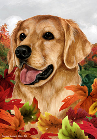Best of Breed Garden Flag GOLDEN RETRIEVER Fall Leaves by Tamara Burnett