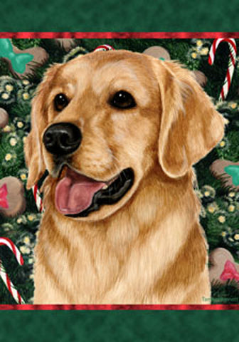 Best of Breed Garden Flag GOLDEN RETRIEVER Christmas Holiday Treats by Tamara Burnett