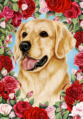 Best of Breed Garden Flag GOLDEN RETRIEVER Valentine Roses by Tamara Burnett