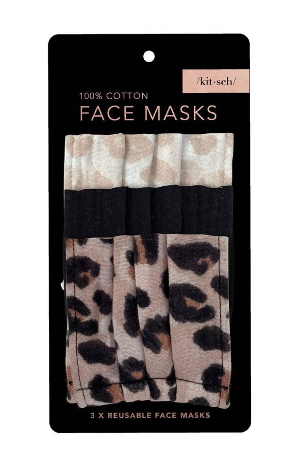 Accessories - Cotton Mask 3pc Set - Leopard