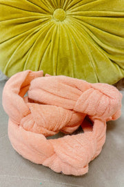 Accessories - Terry Cloth Top Knot Headband In Coral