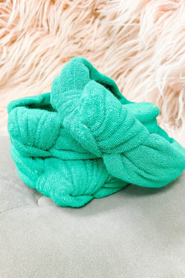 Accessories - Terry Cloth Top Knot Headband In Green