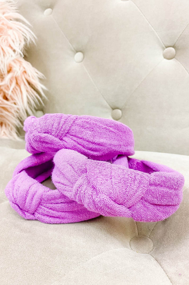 Accessories - Terry Cloth Top Knot Headband In Purple