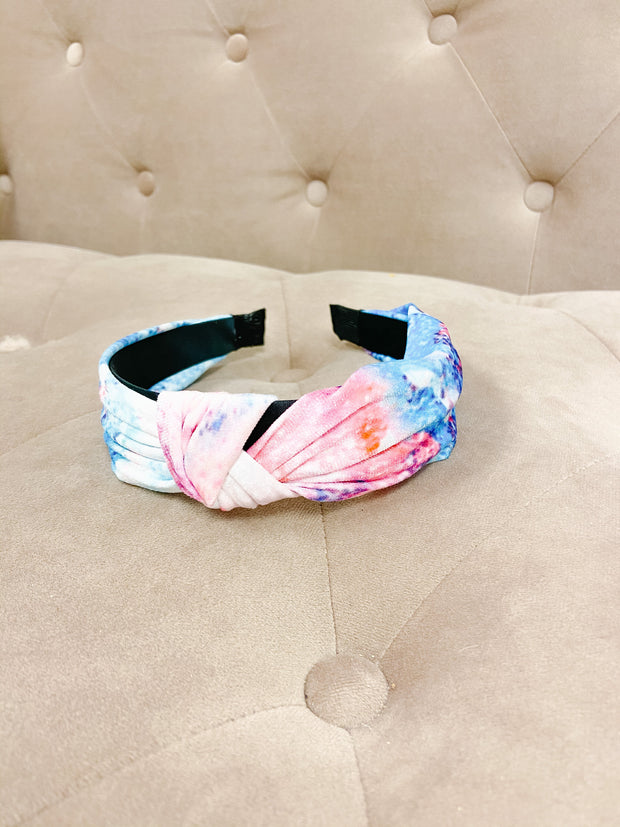 Accessories - Tie Dye Top Knot Headband In Blue