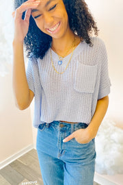 Blouse - The Myla Top In Baby Blue