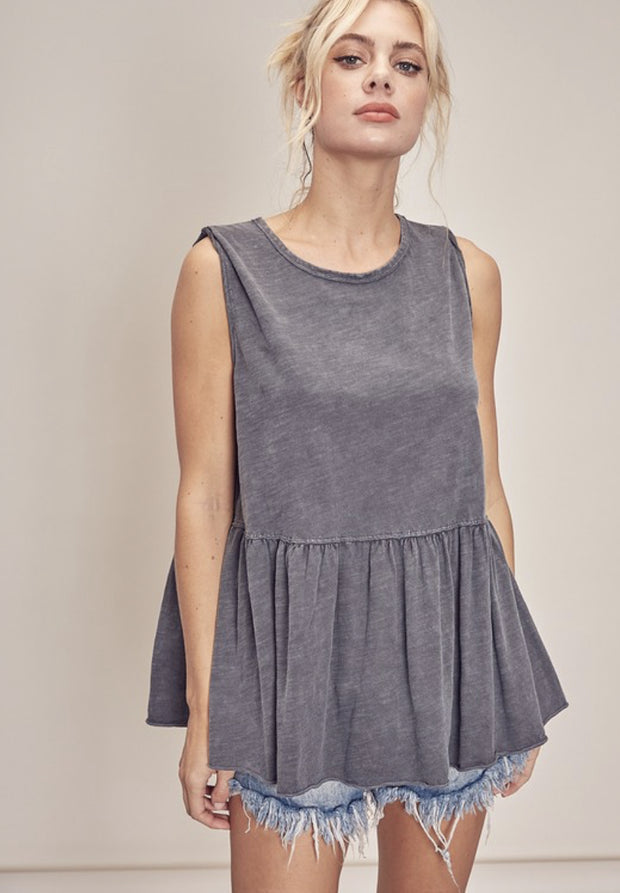 Blouse - The Nettie Charcoal Top
