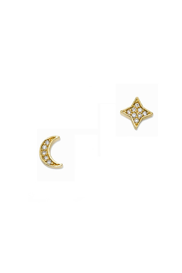 Earrings - Mixed Star And Moon Studs