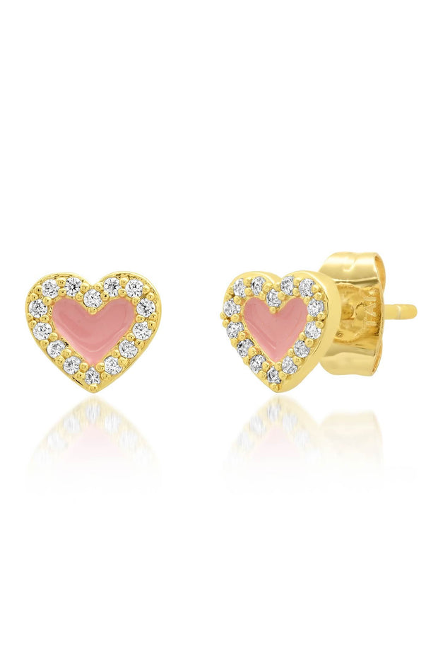 Earrings - Pink Enamel Heart Studs