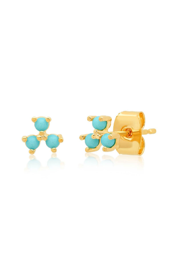 Earrings - Triple Turquoise Cluster Studs