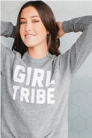 Girl Tribe™ College Crewneck Sweatshirt in Gray