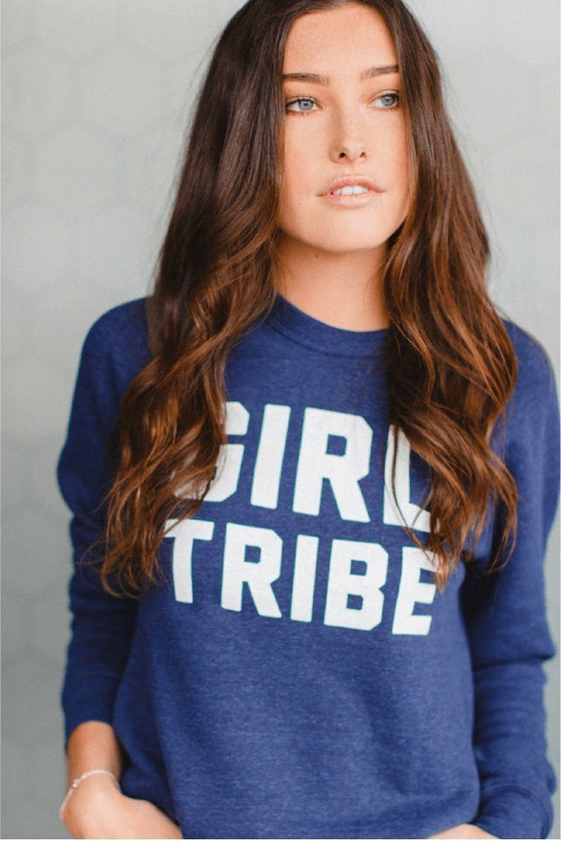Girl Tribe™ College Crewneck Sweatshirt in Navy Blue
