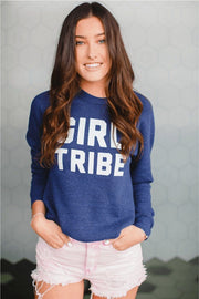 Girl Tribe™ College Crewneck Sweatshirt in Navy