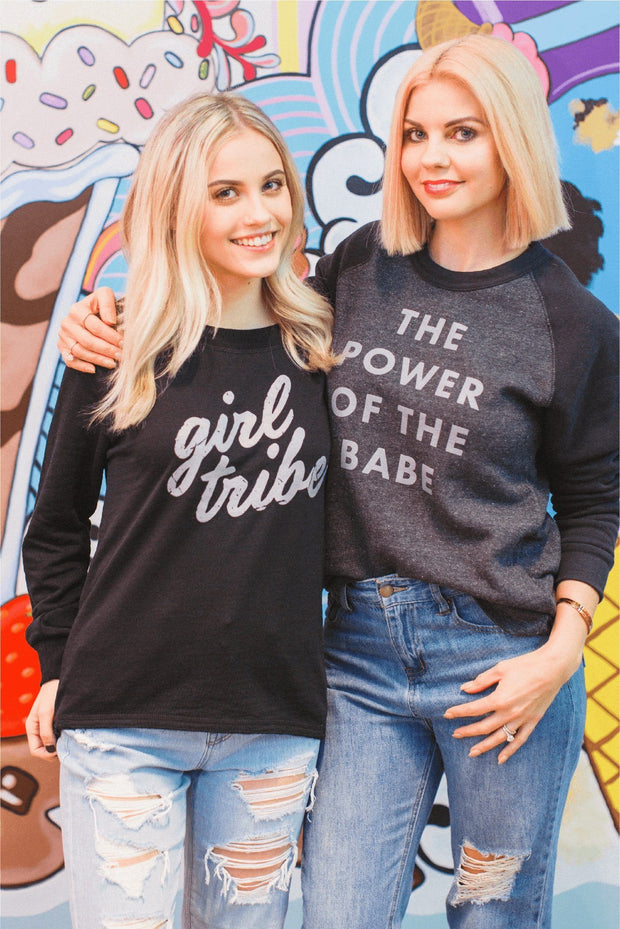 Girl Tribe Co. Sweatshirt - Power Of The Babe Sweatshirt Gray Grey