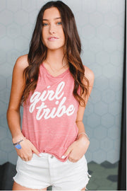 Girl Tribe™ Faded Red Muscle Tank