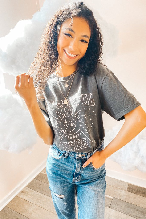 Graphics - Powerful Babe Tee In Charcoal