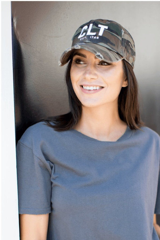 Hat - Charlotte CLT Camo Distressed Hat