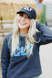 CLT Distressed Black Hat #GirlTribeGameDay (636641509408)