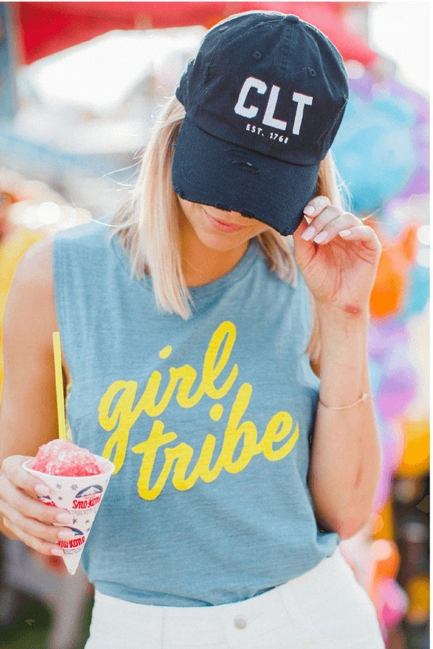 CLT Charlotte Distressed Black Hat #GirlTribeGameDay