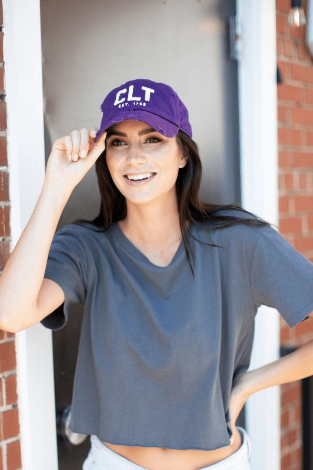 Hat - CLT Distressed Buzzed City Purple Hat